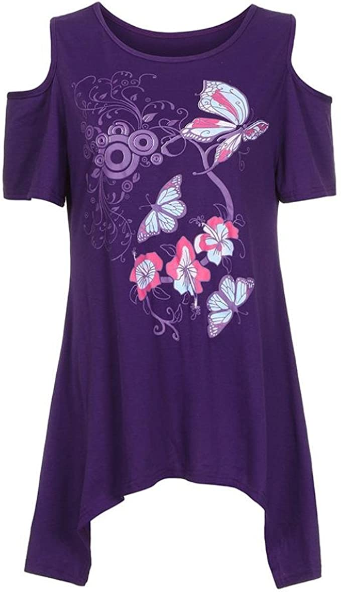 NREALY Blusa Womens Casual Plus Size Sleeveless Butterfly Print Top Blouse Shirt