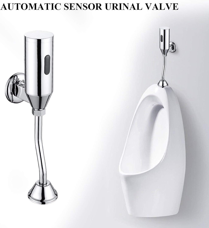 Automatic Sensor Urinal Valve Touchless Toilet Flush Kit Electronic Battery Powered Brass Urinal Flush Valve Bathroom Infrared Wall Mounted Intelligent Toilet Flush Valve