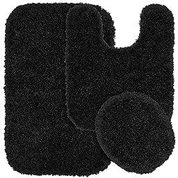 Garland Rug 3-Piece Serendipity Shaggy Washable Nylon Bathroom Rug Set, Black