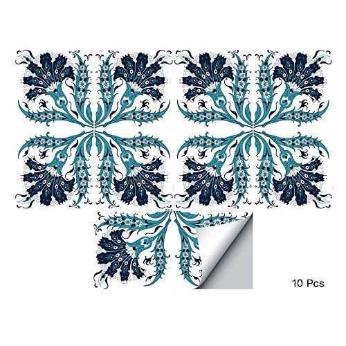 Alwayspon Waterproof Vinyl Wall Tiles Sticker for Home Decor, Self-Adhesive Peel and Stick Backsplash Tile Decals for Kitchen Bathroom Decor, 8x8inch 10 ()