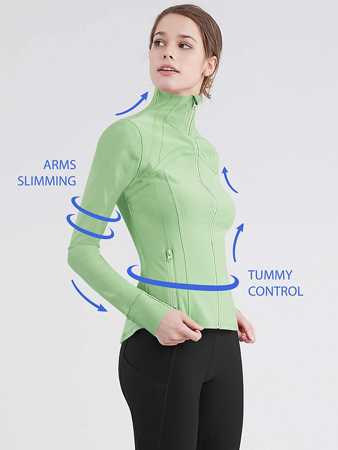 Lock and Love LL QJC3008 Womens Running Shirt Full Zip Workout Track Jacket with Thumb Holes M Pistachio