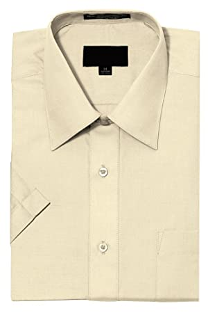 G-Style USA Men's Regular Fit Short Sleeve Solid Color Dress Shirts - IVORY - 2XL/18-18.5