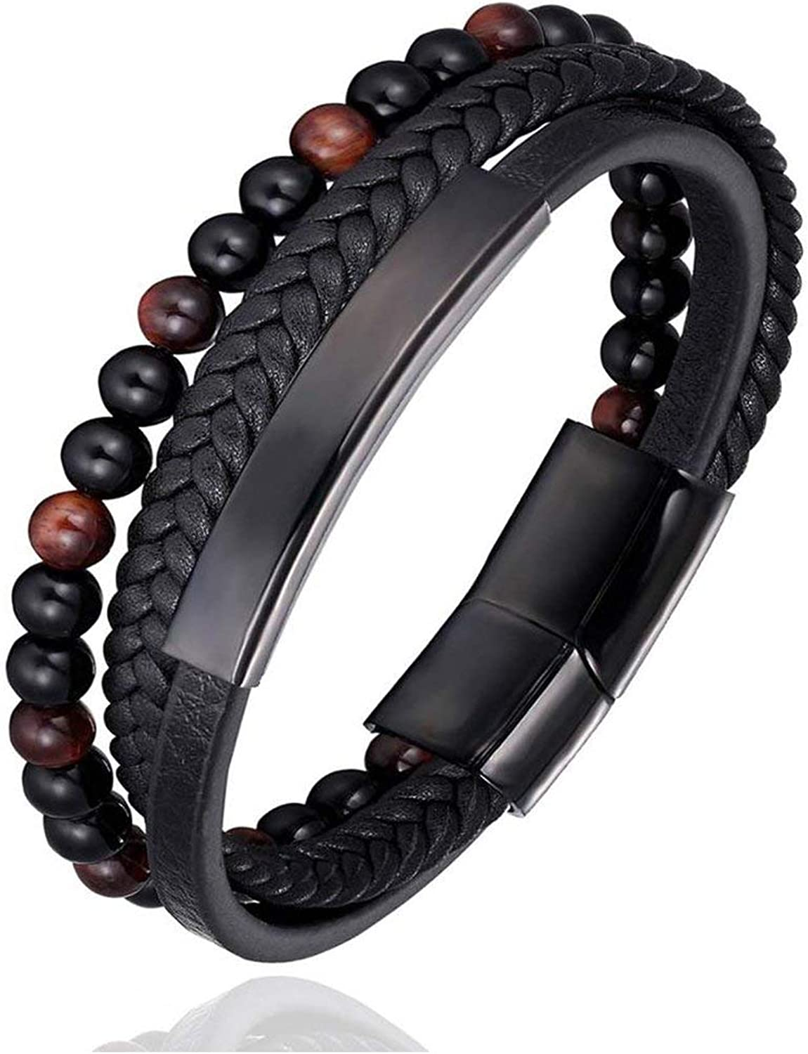 heartbeat-time Multi Layers Handmade Braided Genuine Leather Bracelet & Bangle for Men Stainless Steel Fashion Bangles Gifts