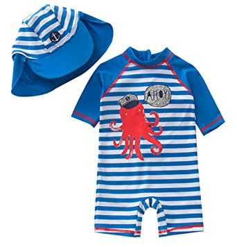 49d62c865a TAIYCYXGAN Baby Boys One Piece Bathing Suit Toddlers Swimsuit Swimwear with  Hat Rash Guard Surfing Suit