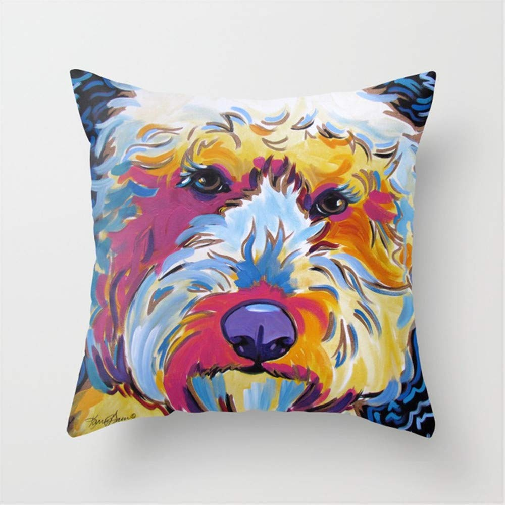 Jay94 Goldendoodle or Labradoodle Pop Art Dog Portrait Throw Pillow Case Cushion Cover 18 X 18 inches