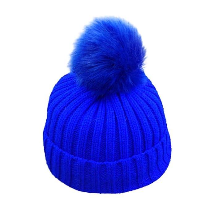 JERFER Nette Unisex - Baby Mütze-Fell Pom Bobble Häkeln Hüte (Blau ...