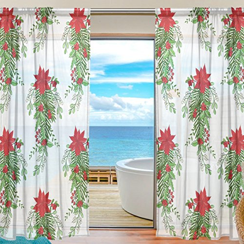 ettia Mistletoe Bow Semi Sheer Curtains Window Voile Drapes Panels Treatment-55x84in for Living Room Bedroom Kids Room, 2 Pieces ()