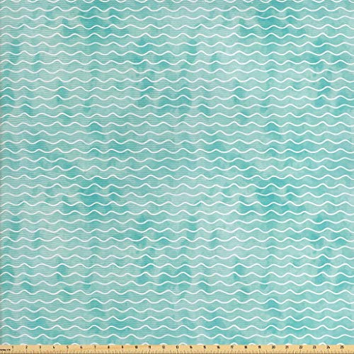 (Ambesonne Nautical Fabric by The Yard, Soft Pastel Colored Ocean Sea Waves Pattern Summer Vibes Inspired Graphic, Decorative Fabric for Upholstery and Home Accents, 2 Yards, Turquoise White)
