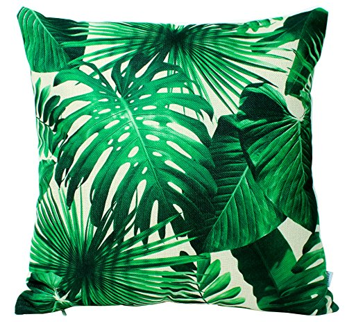 Jinbeile Green Leave Cotton Linen Throw Pillow Covers Decorative 18 X 18 Inch Tropical Plants with 3D Cushion Case Home Pillowcase