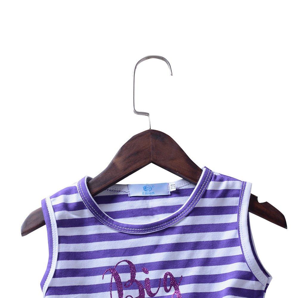 Babywow Infant Baby Girls Big Sister Sleeveless Striped Dresses Tulle Tutu Dress