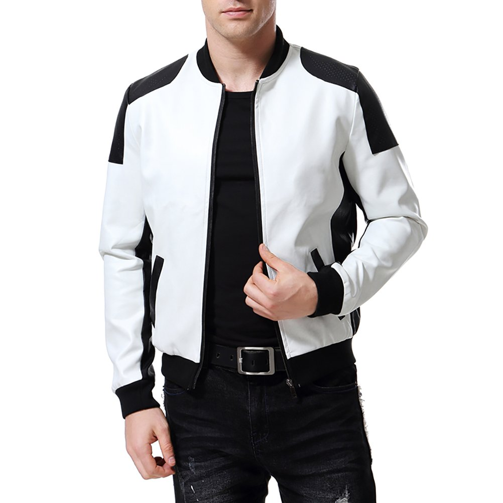 Men's PU Faux Leather Jacket White Black Moto Bomber Fashion Slim Fit Coat, White, Small by AOWOFS
