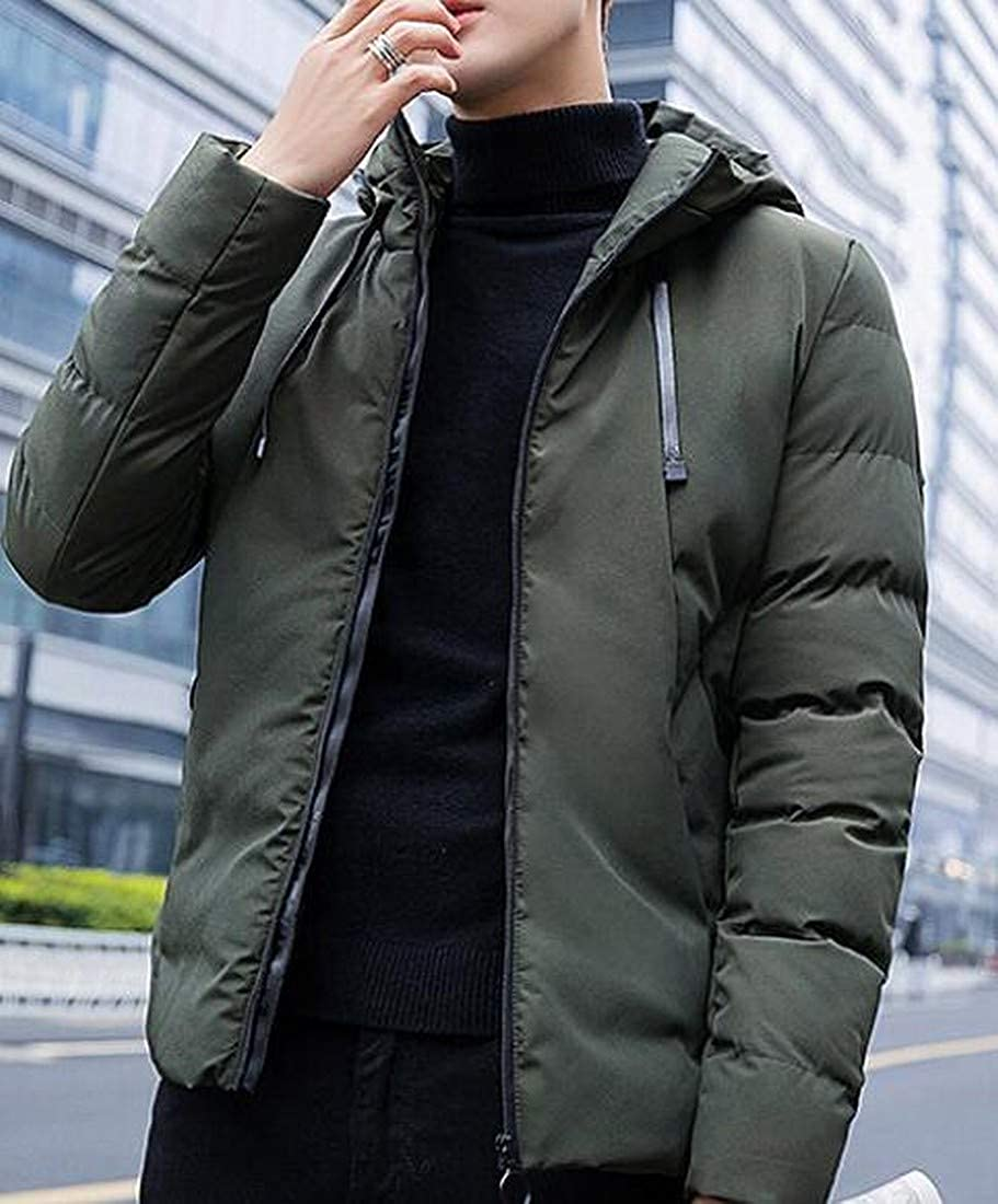Fubotevic Mens Hooded Thermal Zip Front Solid Color Autumn Winter Quilted Jacket Coat Outerwear