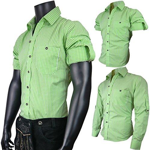 PAULGOS Trachtenhemd Hemd Trachten Karohemd Grün, Größe:L