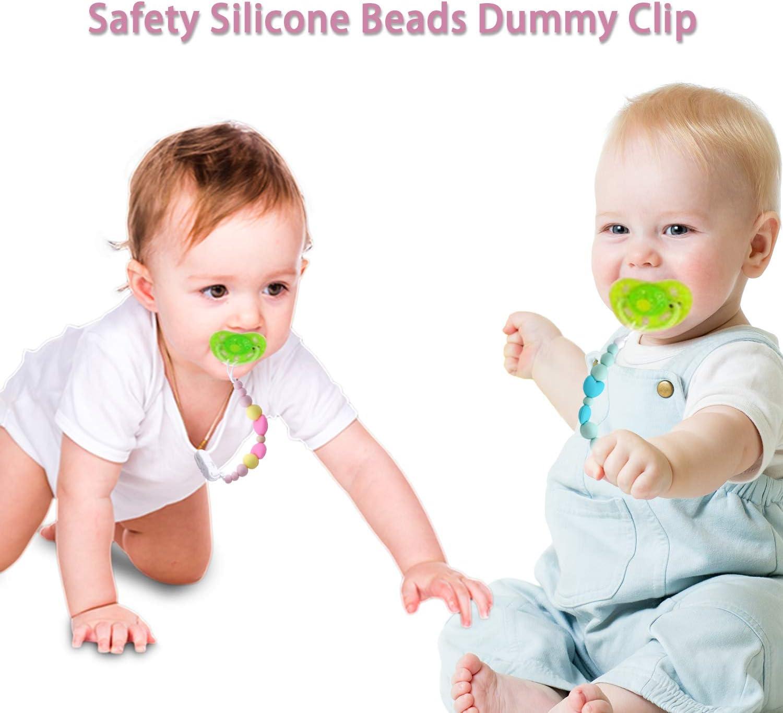 Cadenas Chupetes Beb/é Chupetero Mordedor Silicona antibacteriana Soothie Clip Chupete Holder Binky Clips para Ni/ño y Chicas Sin BPA Verde+Rosa