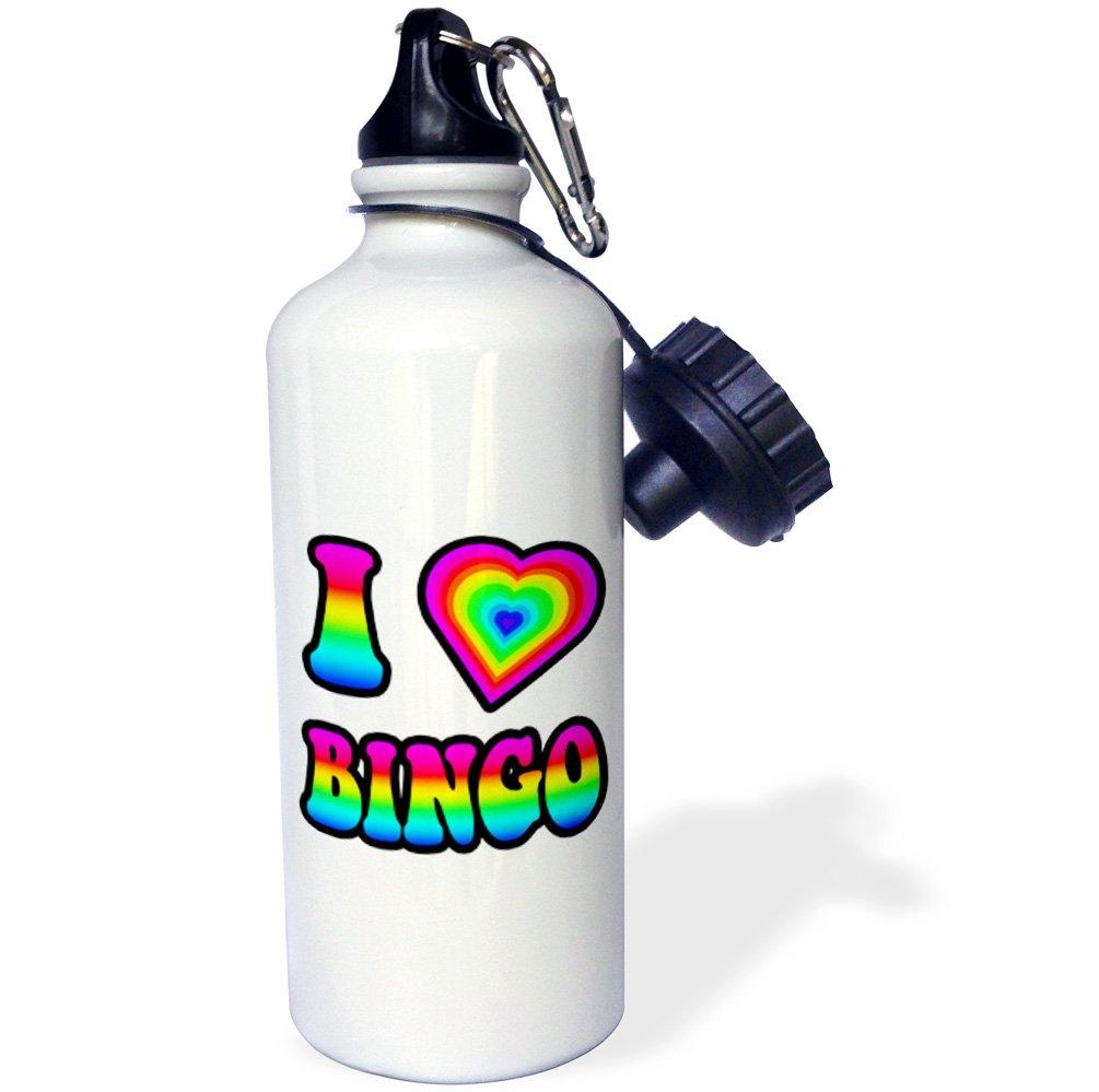 3dRose wb_217357_1 Groovy Hippie Rainbow I Heart Love Bingo - Sports Water Bottle, 21oz by 3dRose