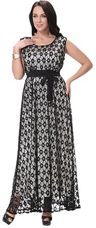 51a611feac8 Unomatch Women Lace Designed Plus Size Long Party Special Occasion Dress  Black (16