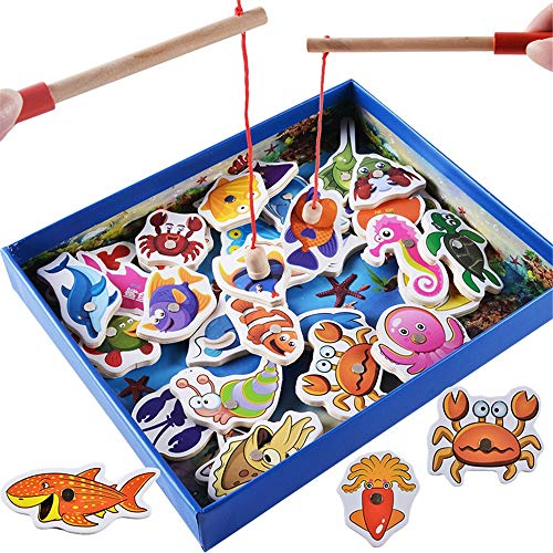 Sunsamy Kids Playing Toy Magnetic Wooden Fishing Pole Game for Kids, Go Fish Gaming Gift Toy, with 32 Ocean Animals and Double Pole for Toddler Boys Girls Age 3+