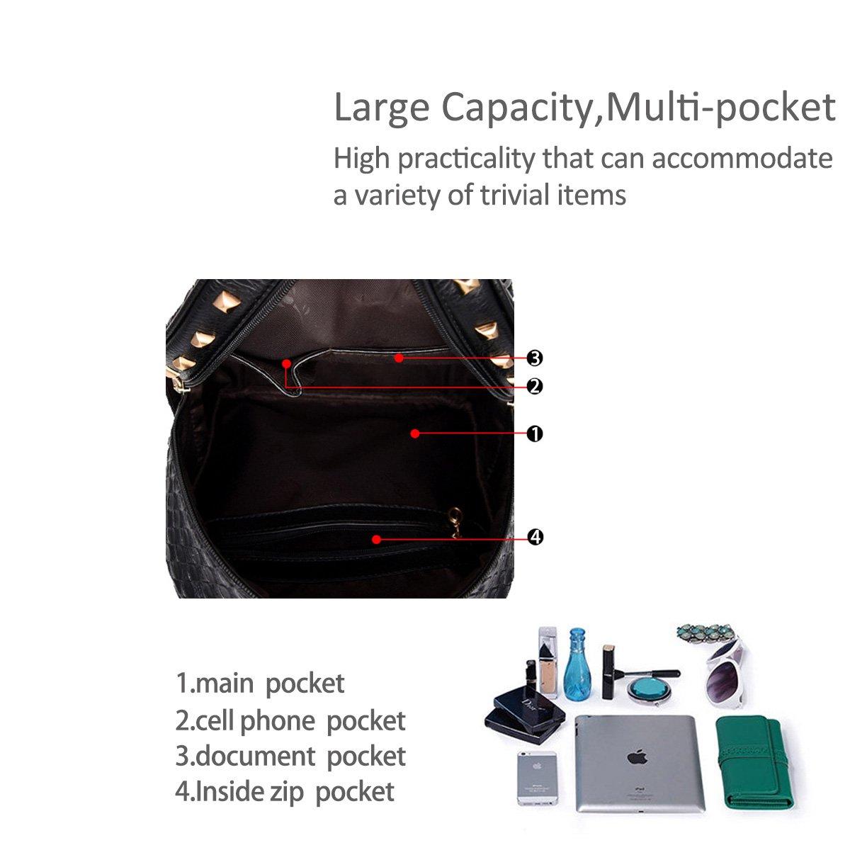 Nicole/&Doris New Women Weave Travel Shoulder Bag Backpack Purse Satchel PU Leather Fashion Personality