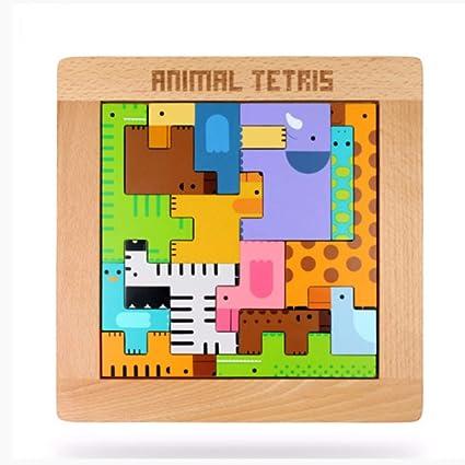 Tangram Jigsaw Animal Lindo De La Historieta Tetris Puzzle De Madera Tangram Niños Juguetes Juego De Mesa Juguetes Educativos para Niños Niñas Niños Rompecabezas: Amazon.es: Juguetes y juegos