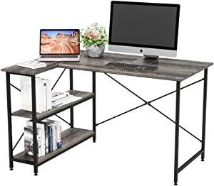 Bestier Computer Desk with Storage Shelves Under Desk, Small L-Shaped Corner Desk with Shelves 47 Inch Writing Desk Table with Storage Tower Shelf Home Office Desk for Small Spaces P2 Wood (Grey)