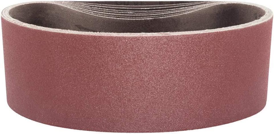 "POWERTEC 110460 3 x 21"" Sanding Belts | 40 Grit Aluminum Oxide Sanding Belt | Premium Sandpaper For Portable Belt Sander – 10 Pack - -"