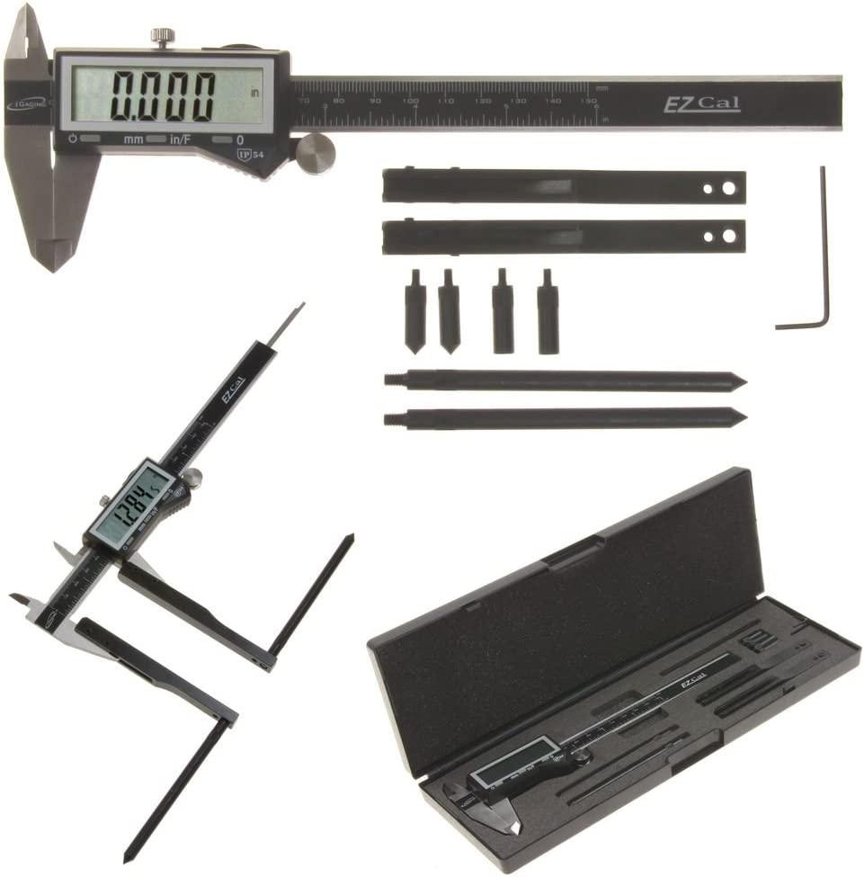 iGaging Digital Caliper EzCal 6 and Brake Drum//Rotor Gauge Jaw Attachment Adapter Extension