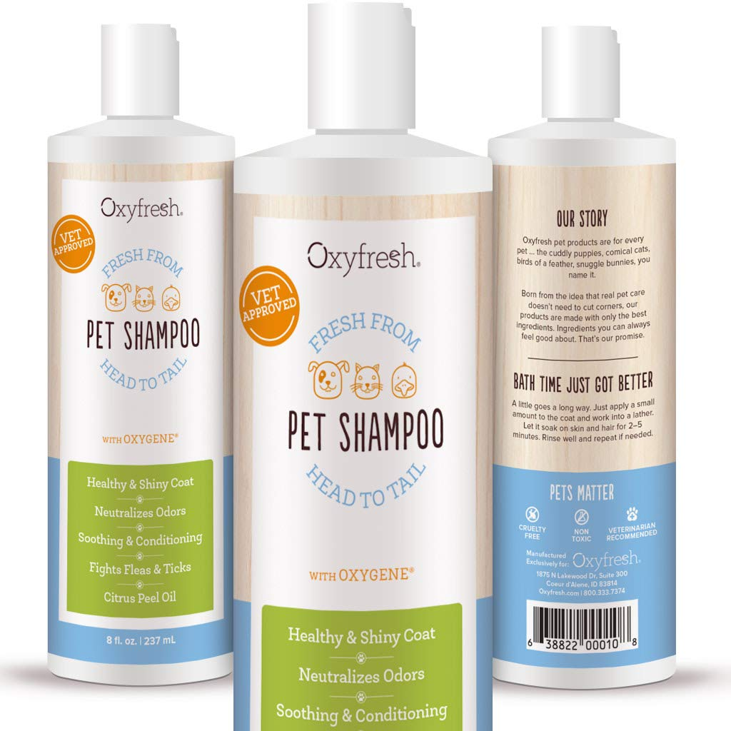 Oxyfresh Pet Shampoo with Oxygene, 8 Oz. - Relieves Skin Irritation - Conditions Great - Perfect for Sensitive, Dry Skin - Vitamin E - Keep Your Dog or Cat Happy, Healthy, Clean & Smelling Fresh