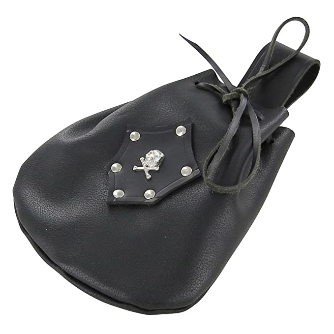 Deluxe Adult Costumes - Handmade black leather sea rover pirate coin pouch.
