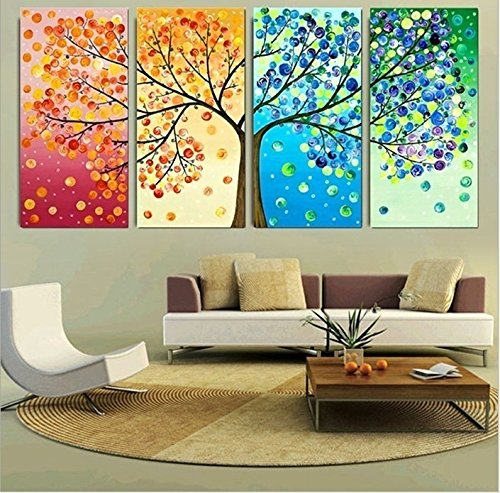 Colorful Wall Decor: GEVES Unframed 4 Pieces Colorful Seasons Tree Of Life