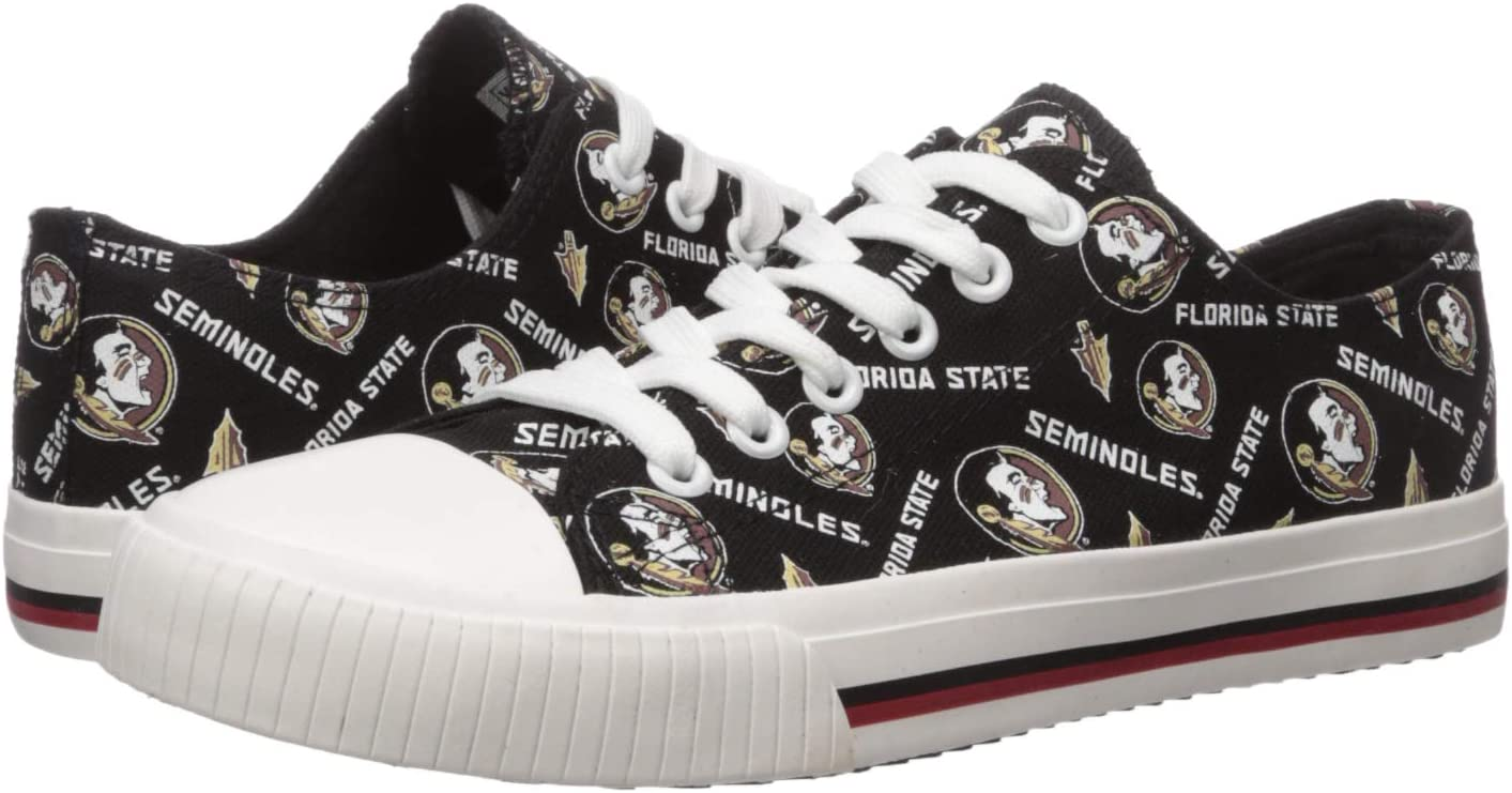 FOCO NCAA Womens College Ladies Low Top Repeat Print Canvas Sneakers Shoes