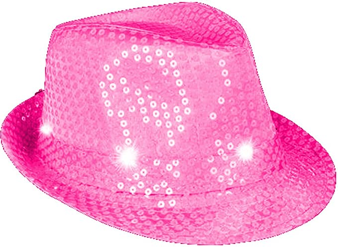 f80f789790bde Amazon.com  Flashing Neon Pink Pimp Gangster Blues Brothers Fedora Hat  Costume Accessory  Clothing