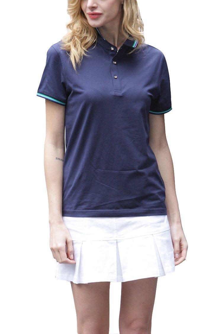 Mitario Femiego Women Classic Stripe Collar Slim Fit Short Sleeves Golf Performance Polo Shirt Dark Blue XXS
