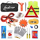 Electop Roadside Assistance Auto Emergency Kit 66 Pieces-in-1 Car Safety Kit with Jumper