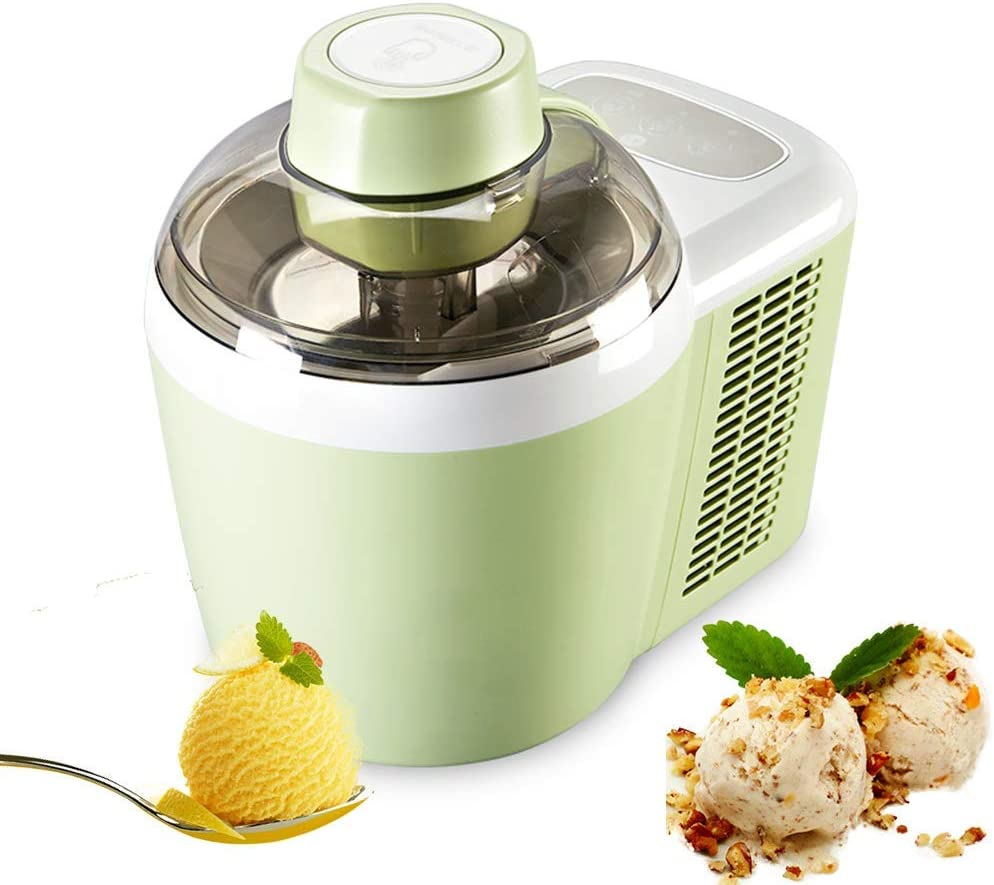 Gpzj Automatic Ice Cream Maker, Household Intelligent Sorbet Fruit Yogurt Maker, with Countdown Timer, Stainless Steel Liner, for Home, 600Ml,Green