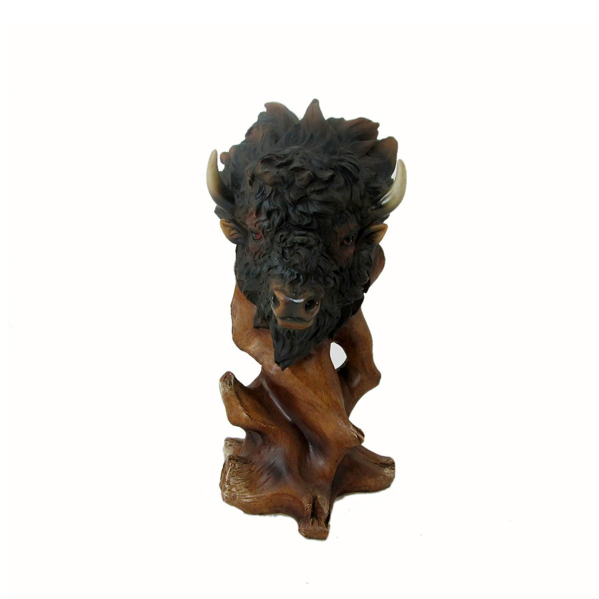 Animal Wildlife Collection Faux Wood Buffalo Head Bust by WonderMolly
