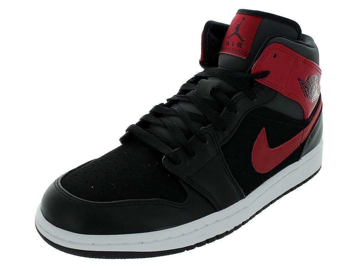 693491ae9fd86 Amazon.com  Nike Men s Air Jordan 1 Mid Jordans Black Black Gym Red Anthracite  10 Men US  Clothing