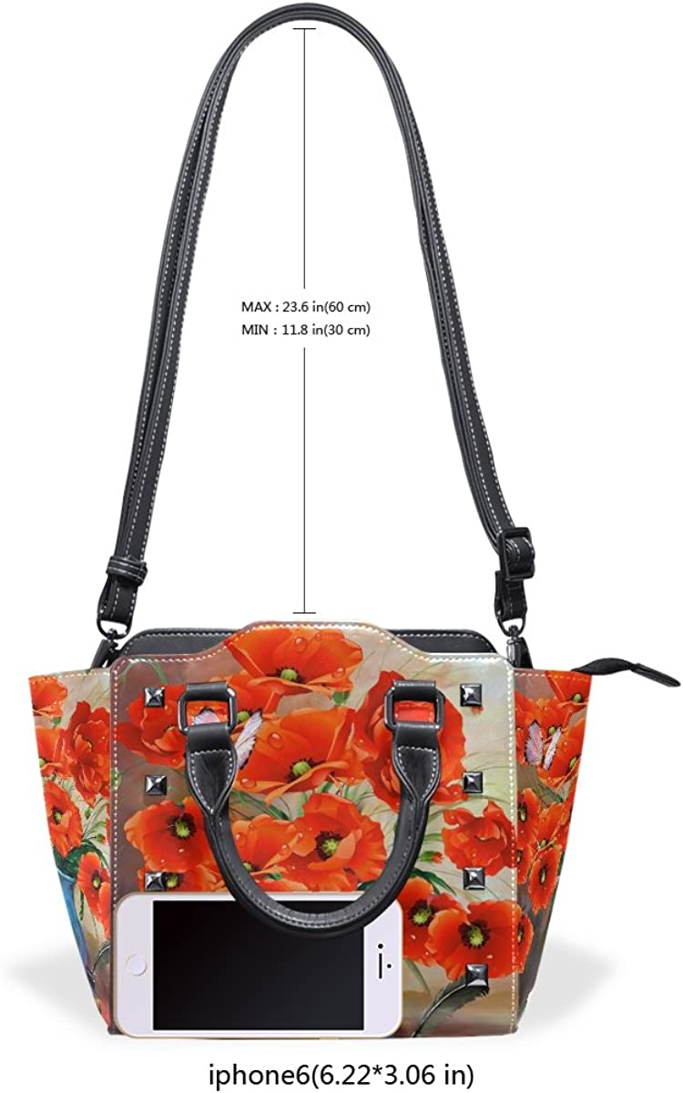 imobaby Red Poppies Butterfly Painting PU Leather Top-Handle Handbags Single-Shoulder Tote Crossbody Bag Messenger Bags For Women