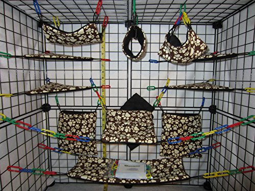 17 Piece Sugar Glider Cage Set 'Paw Print on Brown' Pattern (Sugar Glider Bedding)