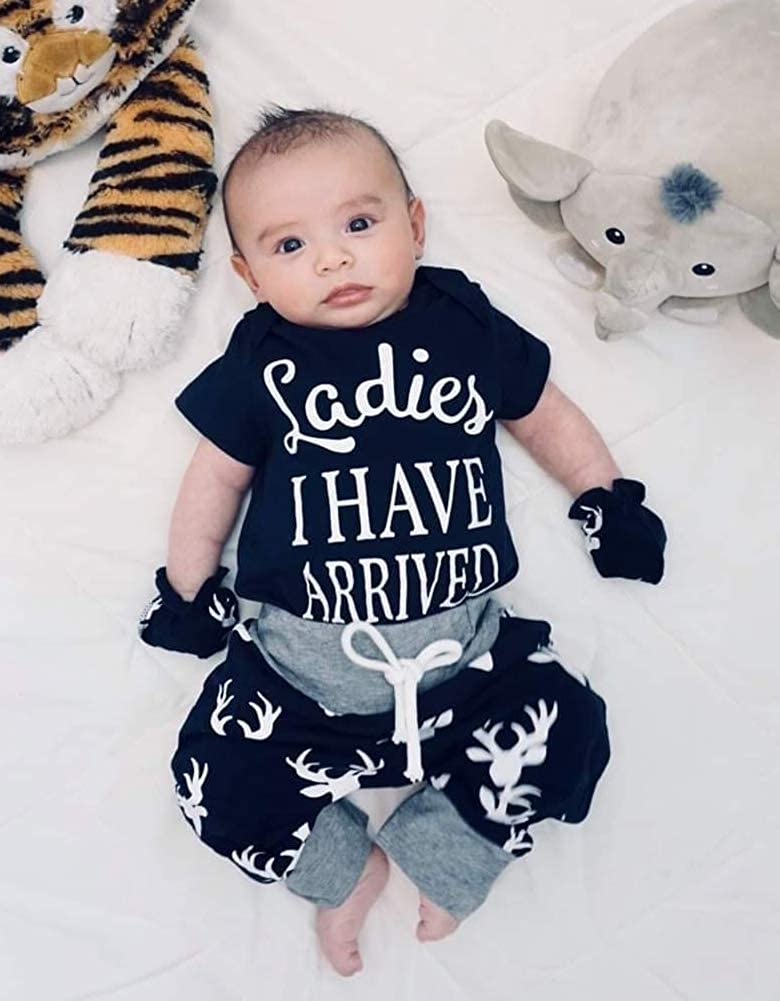 6 Pieces Outfit Set Baby Boys Funny Deer Print Romper