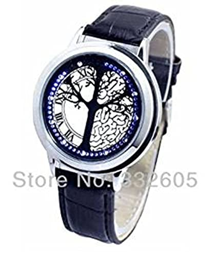 Men's Watches Led Touch Screen Watch Unique Cool Watch With Tree Pattern Simple Black Dial 60 Blue Lights Watch With Soft Black Leather Strap Complete In Specifications Watches