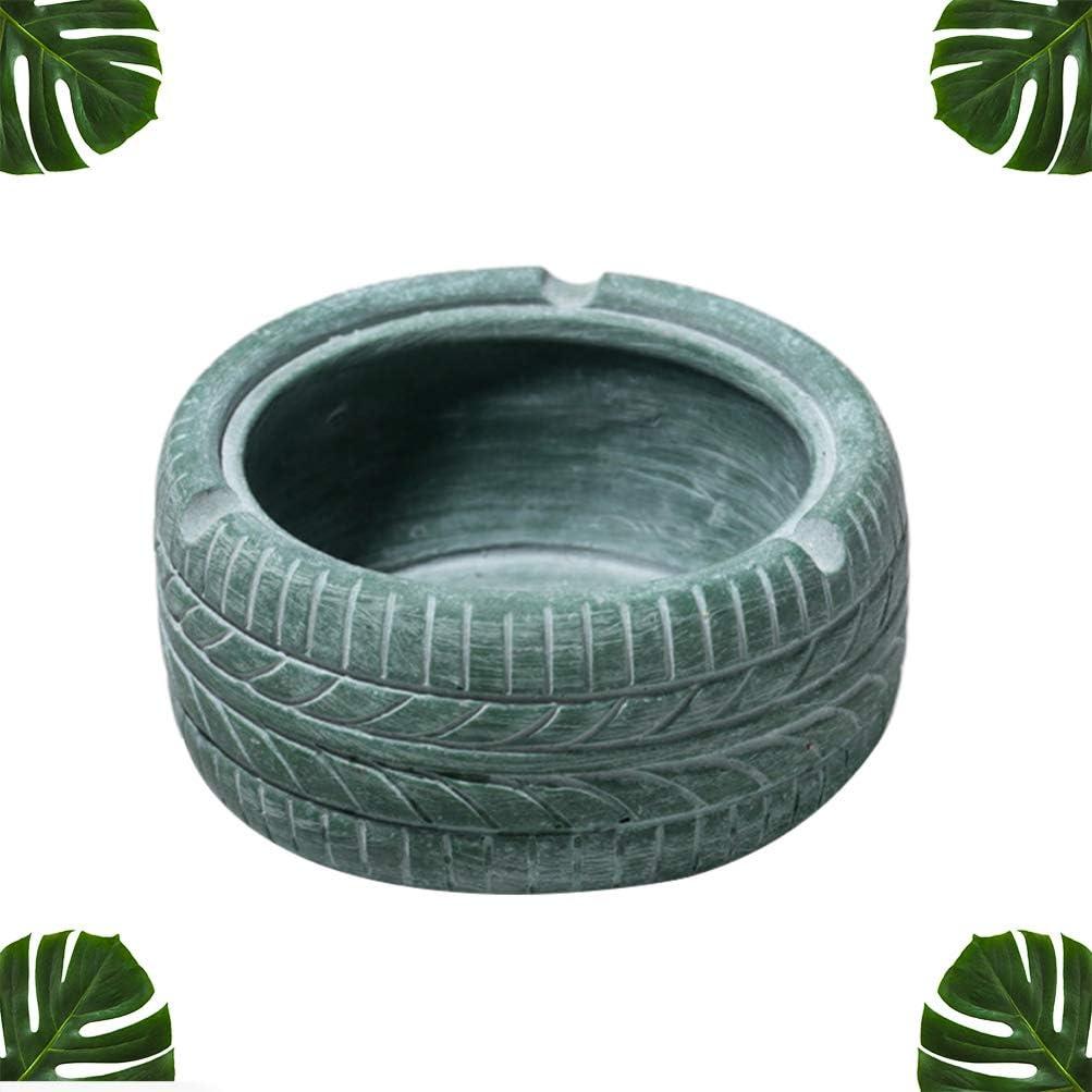 ARTIBETTER Tire Shape Ashtray Vintage Resin Ashtray for Home Office Bar Yellow, 1 Pc