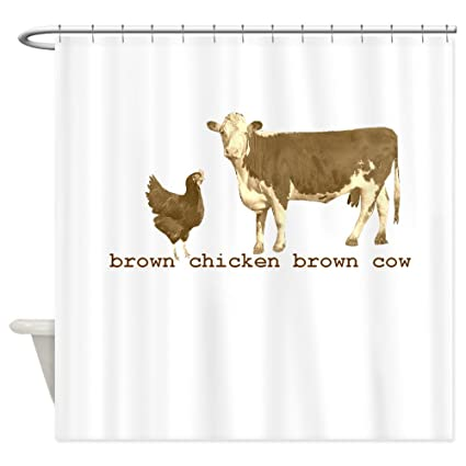 Amazon CafePress Brown Chicken Cow Shower Curtain