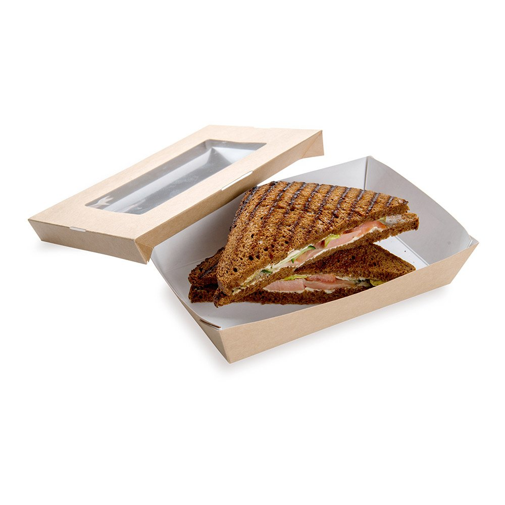 Paper Take Out Container, Paper To Go Box with Window - Rectangular 8.5'' x 5.3'', 34 oz - Cafe Vision - 200ct Box - Restaurantware