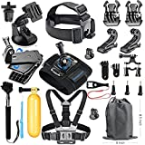 SmilePowo 18-in-1 Accessory Kit for GoPro Hero6,5 Black, Hero5 Session, Hero Session, Hero4, 3+,3,2,1 SJ4000,5000,6000,XIAOMIYI,2,AKASO/ APEMAN/ DBPOWER,Sports Camera Accessories
