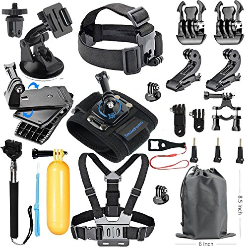SmilePowo 18-in-1 Accessory Kit for GoPro Hero 6,5 Black, Hero Session,5,4,3,GoPro Fusion, SJCAN,XIAOMI,AKASO/ APEMAN/ DBPOWER,Lightdow,Campark,Sports Action Camera