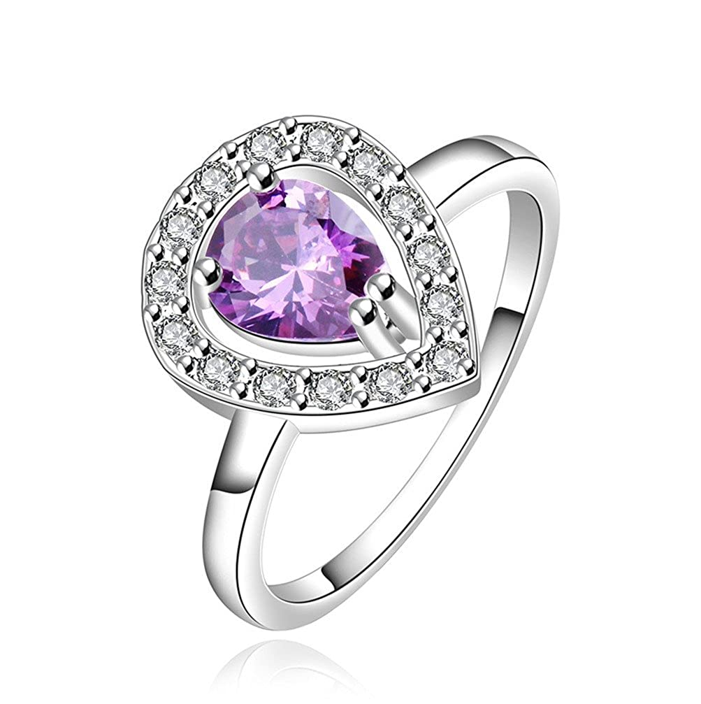 HMILYDYK Elegant Romantic Purple Crystal Fashion 925 Sterling Silver plate Teardrop Ring Jewellery Gift Bag GUERPCR546