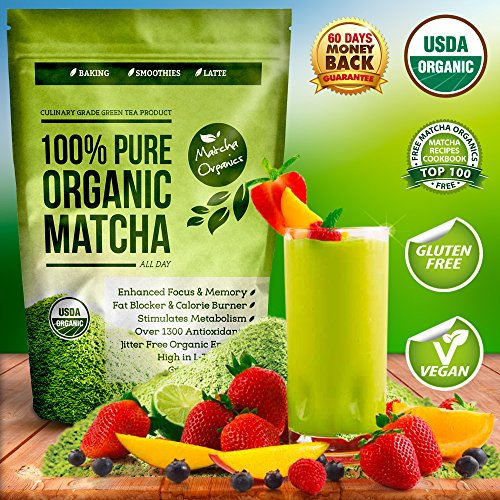 100% USDA Organic Matcha Green Tea Powder Extract - Fat Burner & Weight Loss Diet Supplement & Metabolism Booster - Natural Detox All Day Energy & Mental Focus - Latte Smoothie Shake & Baking Mix - Vegan Superfood - Coffee Substitute - Improved Hair ...