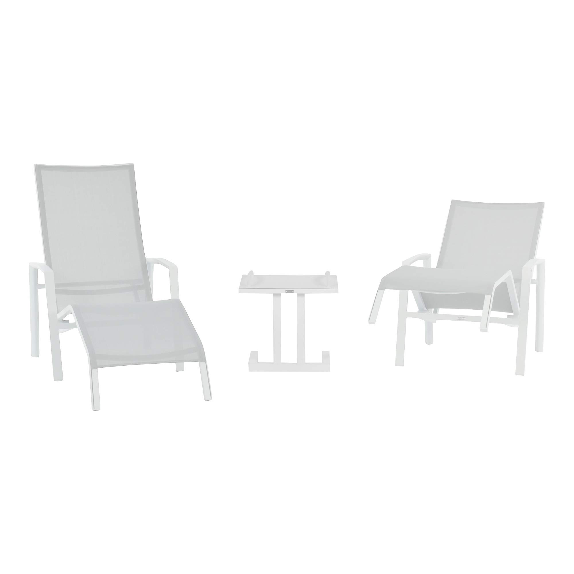CC Outdoor Living 3-Piece Set Patio Timber Relax 2 Position Spring White Chair 51""