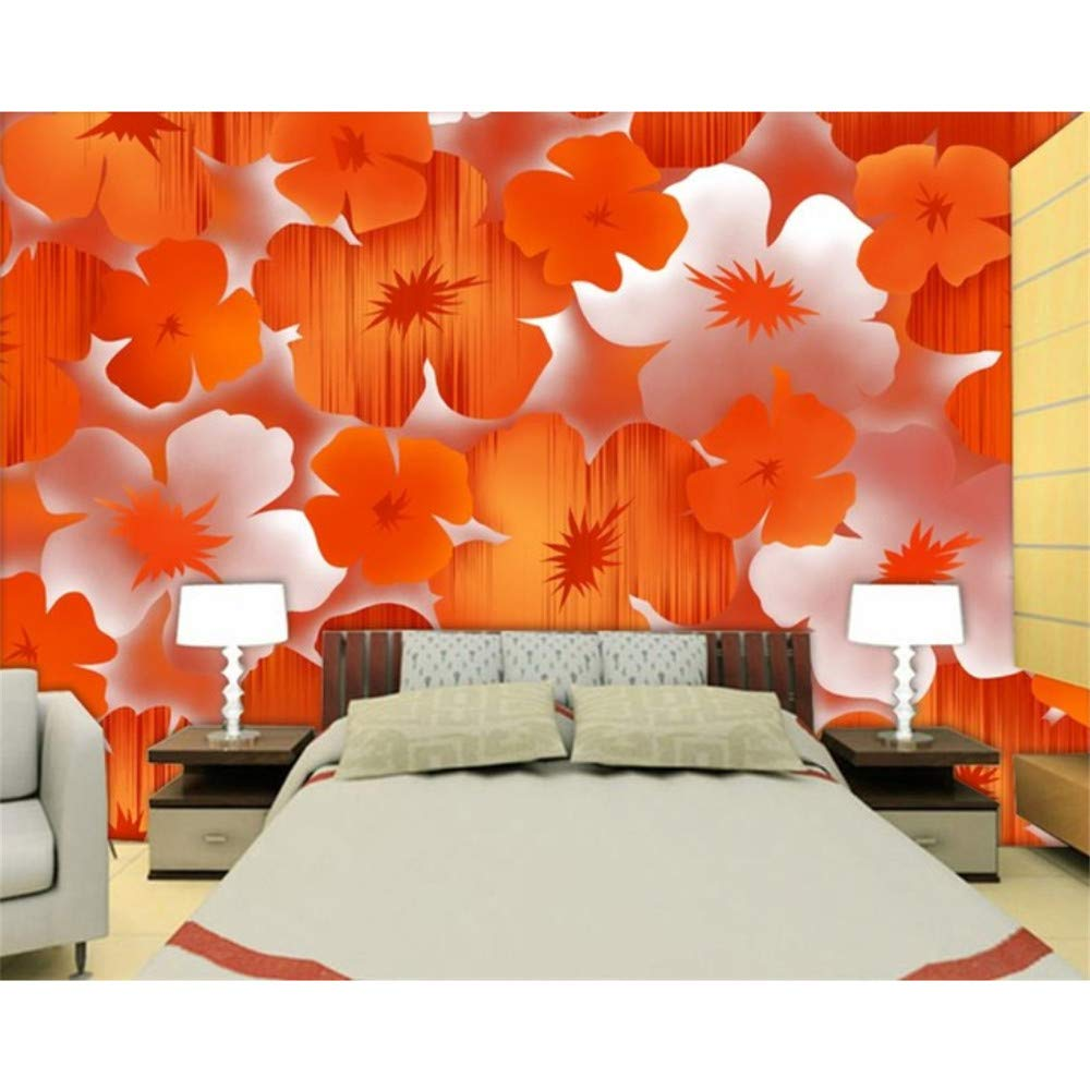 Ansyny 3D部屋の壁紙カスタムHd写真壁画/モダンでエレガントなオレンジ色の花の背景/テレビ/ソファ/寝具室//バー/ホテル/リビングルーム-300X200CM B07RBQJDNF 300X200CM