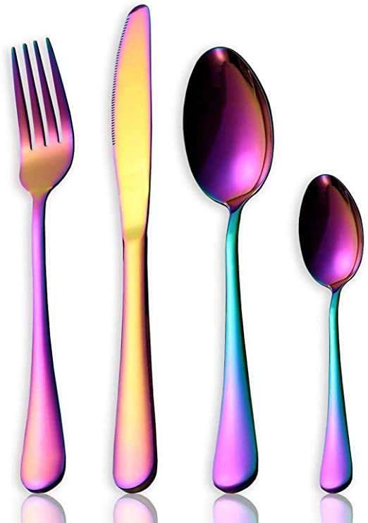 Juego de Cubiertos, LEWONPO Cubertería de Acero Inoxidable 18/10 Vajilla para 6 Personas, 6 Cuchillos de Mesa, 6 Tenedores, 6 Cucharas y 6 Cucharas de Té, Color arcoíris (24 Piezas): Amazon.es: Hogar
